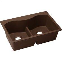 """Elkay Quartz Classic 33"""" x 22"""" x 9-1/2"""", Equal Double Bowl Drop-in Sink with Aqua Divide, Pecan"""