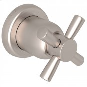 Satin Nickel Perrin & Rowe Holborn Trim For Volume Control And 4-Port Dedicated Diverter with Holborn Cross Handle