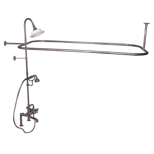Rectangular Shower Unit - Metal Cross Handles - Polished Nickel