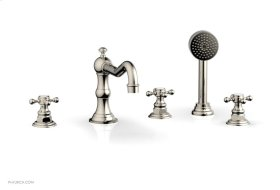 HENRI Deck Tub Set with Hand Shower with Cross Handles 161-48 - Polished Nickel