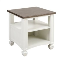 Nantucket Accent Table In Off-white With Brown-grey Top - Large
