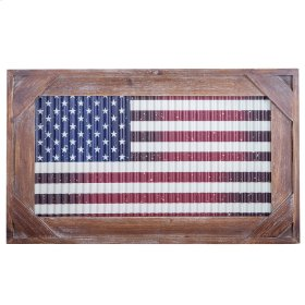 Franklyn American Metal Flag with Wooden Frame