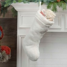 """Home for the Holiday Qy423 White 17"""" X 10"""" Stocking"""