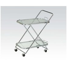 Silver Serving Cart W/clr Glas