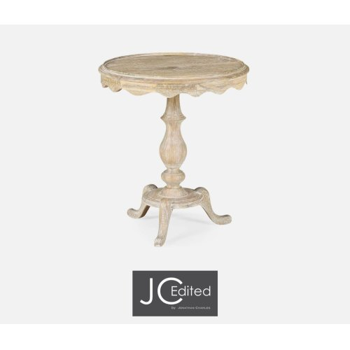 Round Limed Acacia Lamp Table