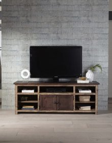 70 Inch Console - Distressed Dark Pine Finish
