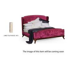 US Queen Louis XV Limed Tulip Bed, Upholstered in Fuchsia Velvet