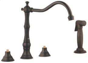 Oil Rubbed Bronze 3-hole Sink Mixer with Side Spray
