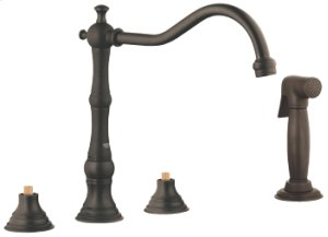 Oil Rubbed Bronze 3-hole Sink Mixer with Side Spray Product Image