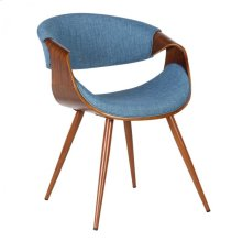 Armen Living Butterfly Mid-Century Dining Chair in Walnut Wood and Blue Fabric