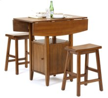 Pecan Drop Leaf 3 Pc Pub Set