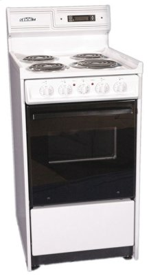 "Deluxe Bisque 220v Electric Range In Slim 20"" Width With Digital Clock/timer, Black See-through Glass Oven Door and Light"