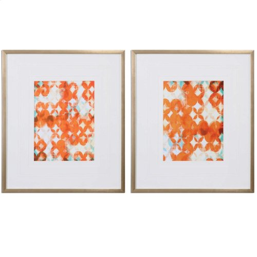 Overlapping Teal and Orange Framed P