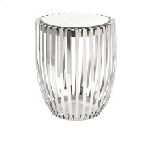 Xanthia Steel and Mirror Accent Table