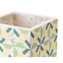 Cement Flower Planter Green And Yellow