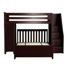 All in One Staircase Loft Bed Study   Full Bed Espresso