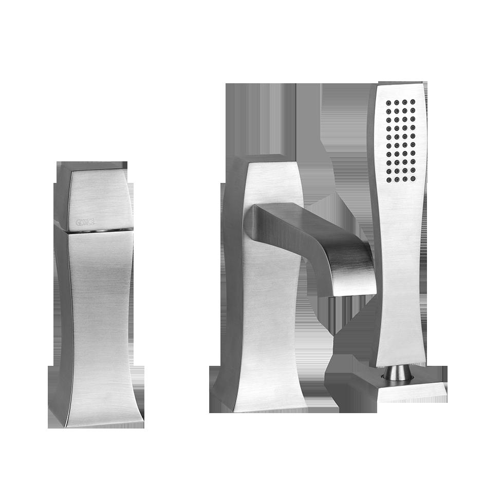 """Three-hole roman tub set Diverter Spout - Projection 7-3/8"""" Handshower 59"""" flex hose Handshower max flow rate 2.0 GPM Spout max flow rate 6.3 GPM at 43 PSI"""
