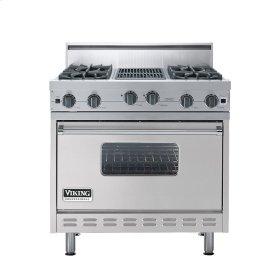 "Metallic Silver 36"" Open Burner Range - VGIC (36"" wide, four burners 12"" wide char-grill)"