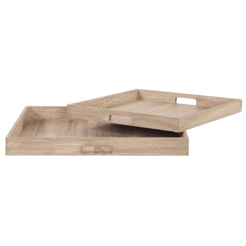 Square Wooden Trays - set of 2