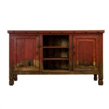 Red Reclaimed Painted Wood TV Stand