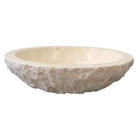 Bonette Oval Chiseled Marble Vessel - Polished Carrara Marble