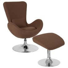 Egg Series Brown Fabric Side Reception Chair with Ottoman
