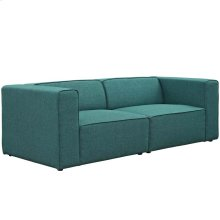 Mingle 2 Piece Upholstered Fabric Sectional Sofa Set in Teal