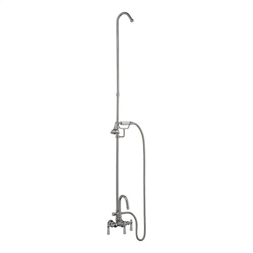 Tub/Shower Converto Unit - Handheld Shower, Riser for Cast Iron Tub - Polished Chrome