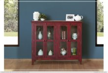 Console w/ 4 Glass Doors - Red Currant finish