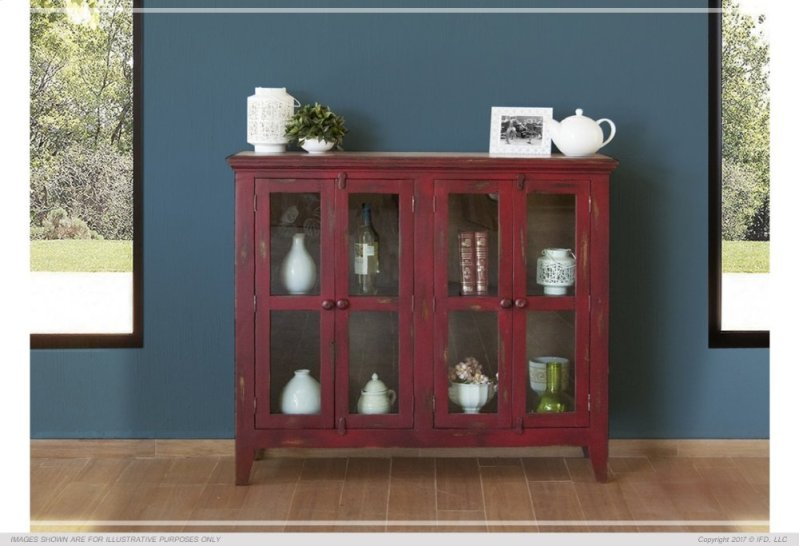 Console W 4 Gl Doors Red Currant Finish