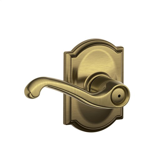 Flair Lever with Camelot trim Bed & Bath Lock - Antique Brass