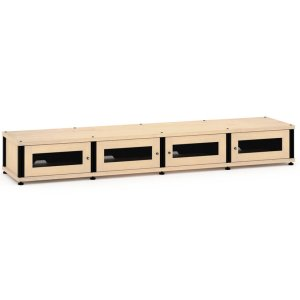 Salamander DesignsSynergy Solution 147, Quad-Width AV Cabinet, Maple with Black Posts