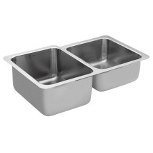 1800 Series 32x20-5/8 stainless steel 18 gauge double bowl sink