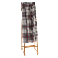 Light Grey & Red Plaid Knit Throw.