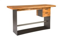 Chamcha Wood Standing Desk, Iron Frame with Drawers, Bar Height