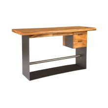 Iron Frame Standing Desk with Drawers, Chamcha Wood, Natural, Bar Height