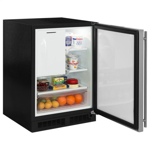 """Marvel 24"""" Refrigerator Freezer with Ice Maker and Drawer Storage - Solid Panel Ready Overlay Door - Integrated Right Hinge"""