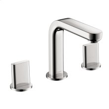 Chrome Widespread Faucet 100 with Full Handles and Pop-Up Drain, 1.2 GPM