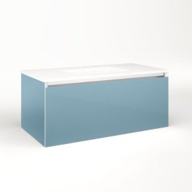 "Cartesian 36-1/8"" X 15"" X 18-3/4"" Single Drawer Vanity In Ocean With Slow-close Plumbing Drawer and Night Light In 5000k Temperature (cool Light)"
