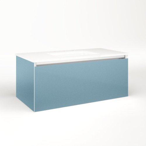 """Cartesian 36-1/8"""" X 15"""" X 18-3/4"""" Single Drawer Vanity In Ocean With Slow-close Plumbing Drawer and Night Light In 5000k Temperature (cool Light)"""