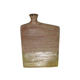 """Ceramic 14.25"""" Vase, Brown/gold"""