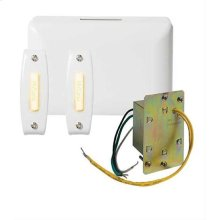 Builder Kit Chime with Junction Box Transformer and 2 Lighted White Rectangular Pushbuttons