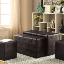 Ellie Storage Bench, Espresso Leatherette