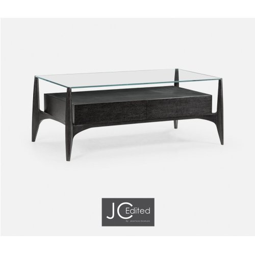 Architects Black Leather & Black Mocha Oak Cocktail Table with Drawers and Glass Top