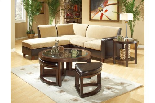 Rectangular Cocktail Table with Two Ottomans