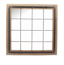 Square Wood/metal Grid Mirror