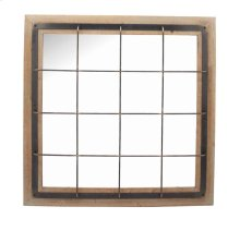Square Wood/metal Grid Mirror