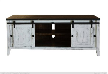"""68"""" TV Stand w/ 2 Glass Doors & 2 Doors - Includes wire management on back panel."""