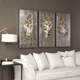 Champagne Leaves Hand Painted Canvas