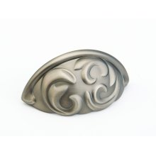 """Solid Brass, Arcadia, Cup Pull, 3""""cc, Antique Nickel finish"""